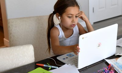 A kid learning online education in laptop